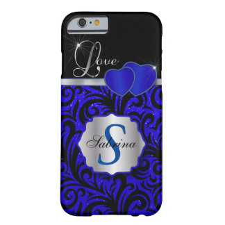 Elegant Blue Glitter Love | Personalize Barely There iPhone 6 Case
