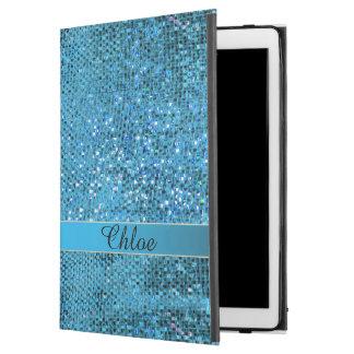 Elegant Blue Glitter Monogram iPad Air Pro Case