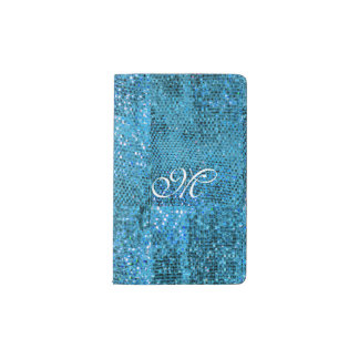 Elegant  Blue Glitter Monogram Pocket Moleskine Notebook