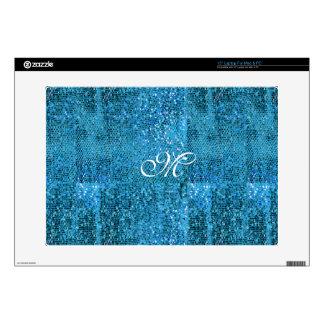 Elegant  Blue Glitter Monogram Skin For Laptop