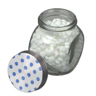 Elegant Blue Glitter Polka Dots Pattern Glass Candy Jars