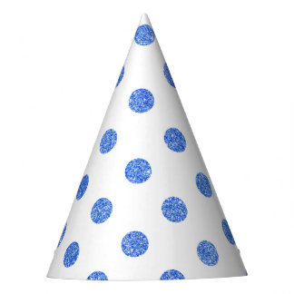 Elegant Blue Glitter Polka Dots Pattern Party Hat