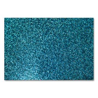 Elegant blue glitter table card
