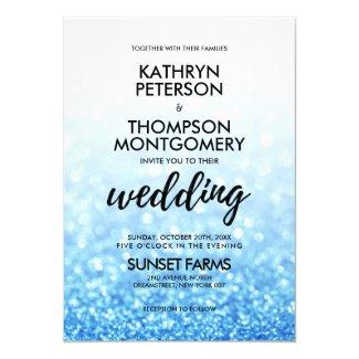 Royal Blue White Wedding Invitations, Elegant Glitter