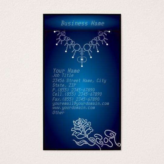 Elegant Blue Glowing Jewelry Business Card