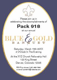 Elegant Blue & Gold Banquet Invitation