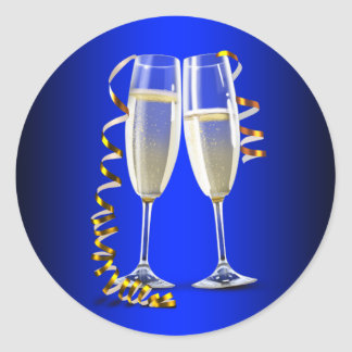 Elegant Blue Gold Champagne Glass Stickers