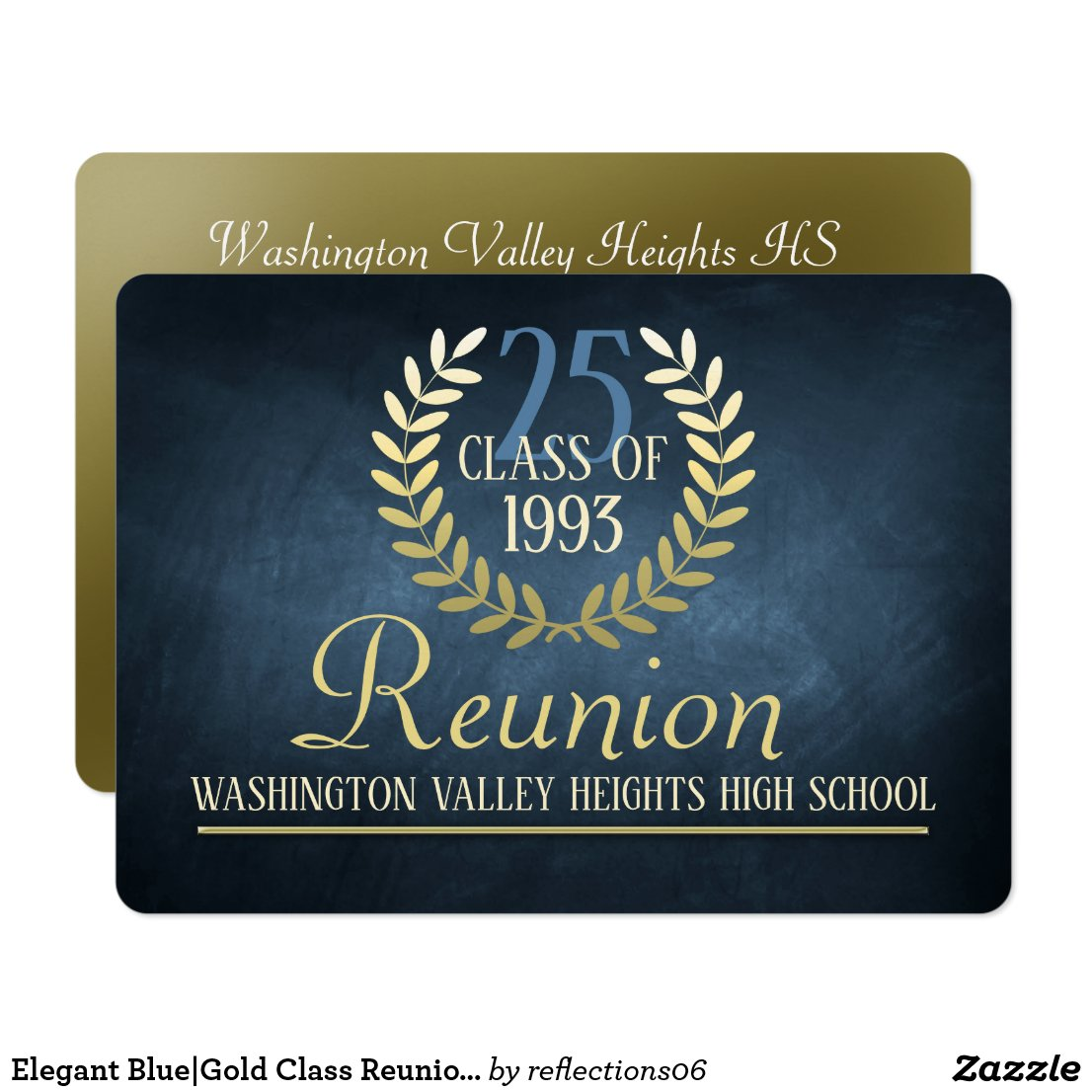 Elegant Blue|Gold Class Reunion Invitation