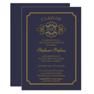 Elegant Blue Gold College Graduation Party Invitation