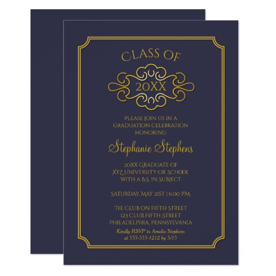 elegant blue gold college graduation party invitation zazzle com