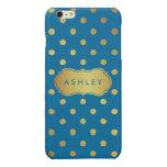 Elegant Blue Gold Dots Pattern Glitter Monogram Glossy iPhone 6 Plus Case