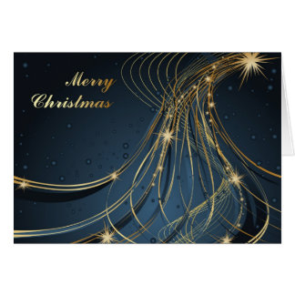 Elegant Blue & Gold Greeting Card