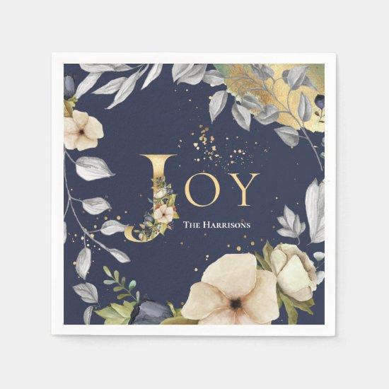 Elegant Blue Gold Letters Floral Joy Christmas Napkin