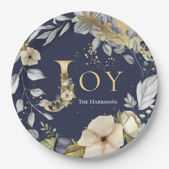 Elegant Blue Gold Letters Floral Joy Christmas Paper Plate