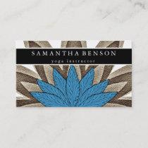 Elegant Blue & Gold Lotus Flower Logo Yoga Business Card