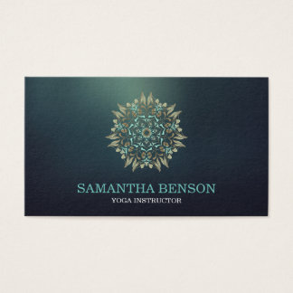 Elegant Blue & Gold Lotus Yoga Instructor Business Card