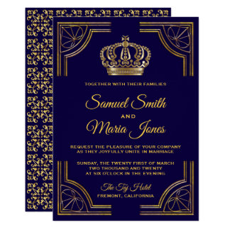 Elegant Blue Gold Ornate Crown Wedding Invitation