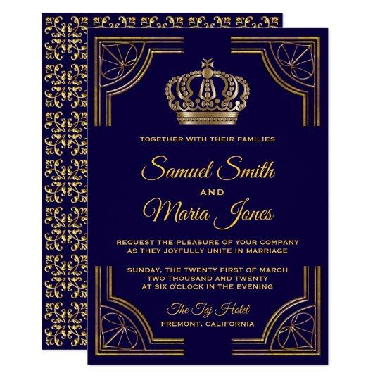 Gold And Blue Wedding Invitations: Elegant Blue Gold Ornate Crown Wedding Invitation