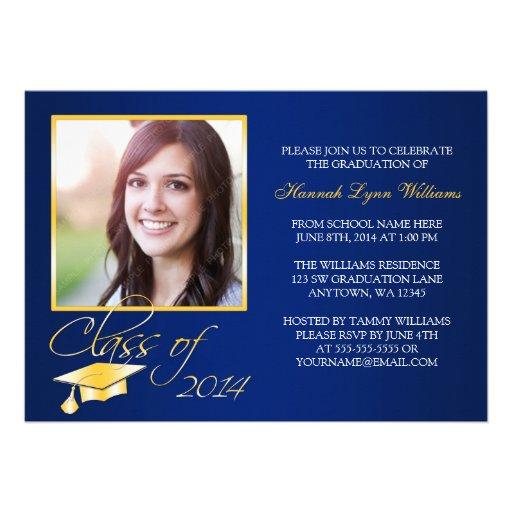 Elegant Blue Gold Photo Graduation Announcement | Zazzle