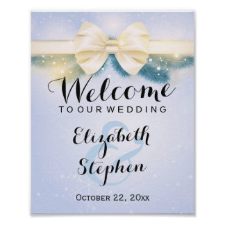 Elegant Blue Gold Ribbon Pines Floral Wedding Sign