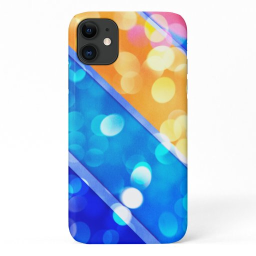 Elegant Blue Gold Sparkle Bokeh iPhone Case