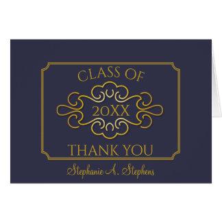 Elegant Blue Gold University Graduation Thank You Card