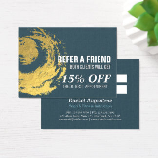 Elegant Blue Gold ZEN Symbol Referral Card