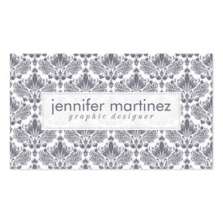 Elegant Blue-Gray And White Floral Damasks Pattern Business Card