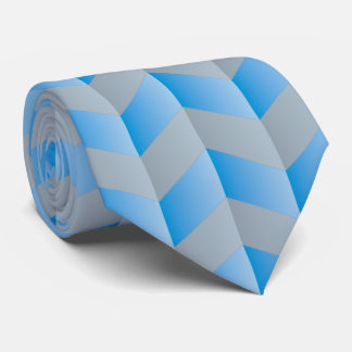 Elegant Blue Gray Chevron Pattern Neck Tie