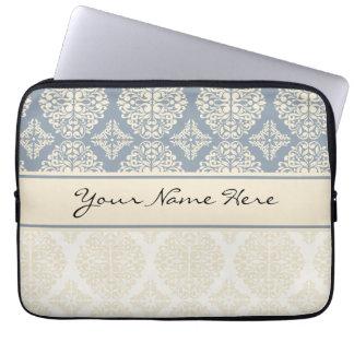 Elegant Blue Gray & Cream Double Damask Laptop Computer Sleeves