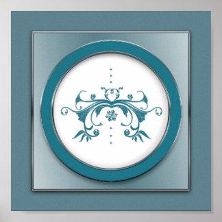 Elegant Blue/Gray  Swirl Floral Sq. Print