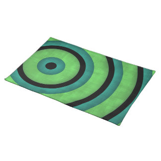 Elegant blue, green, and black rings cloth placemat