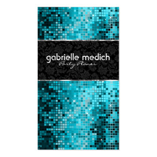 Elegant Blue-Green Glitter Metallic Sequence 2 Double-Sided Standard Business Cards (Pack Of 100)