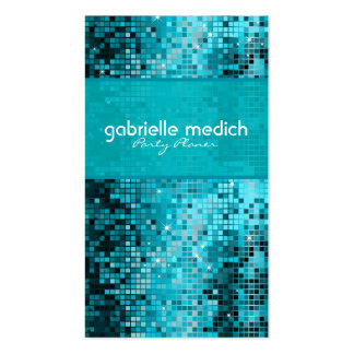 Elegant Blue-Green Glitter Metallic Sequence Double-Sided Standard Business Cards (Pack Of 100)