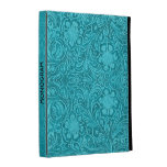 Elegant Blue-Green Leather Look Embossed Flowers iPad Folio Cases