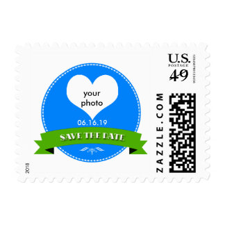 Elegant Blue-Green Save the Date Stamp