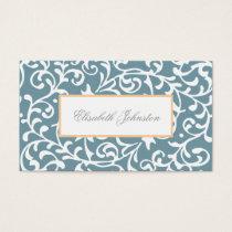 Elegant Blue Green Swirls Damask Feminine Floral Business Card