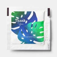 Elegant Blue Green Tropical Leaf Pattern Hand Sanitizer Packet