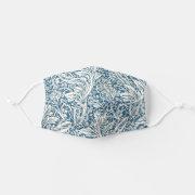 Elegant stylish Blue Acanthus Leaf Pattern floral Face Mask title=