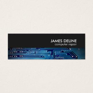 Elegant Blue Grey Circuit Computer Repair Mini Business Card