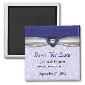 Elegant Blue Heart Diamond Save the Date Magnet