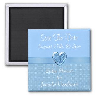 Elegant Blue Heart Jewel Save The Date Baby Shower Refrigerator Magnet
