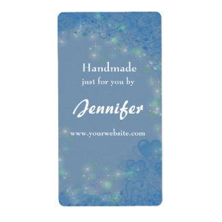 Elegant Blue Hearts Handmade By Label