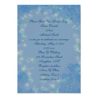 "Elegant Blue Hearts Sparkly Lights Wedding Invite 5"" X 7"" Invitation Card"