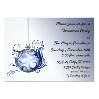 "elegant blue Holiday party Invitation 5"" X 7"" Invitation Card"