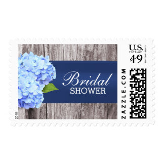 Elegant Blue Hydrangea Flower Bridal Shower Stamps