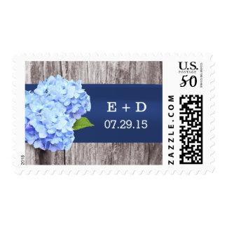 Elegant Blue Hydrangea Flower Wood Wedding Stamps