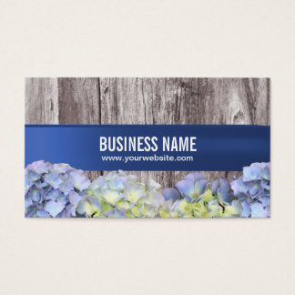 Elegant Blue Hydrangea Flowers Wood Background Business Card