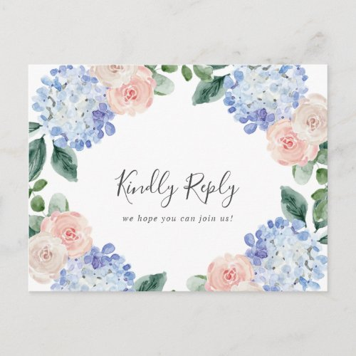 Elegant Blue Hydrangea Song Request RSVP Postcard