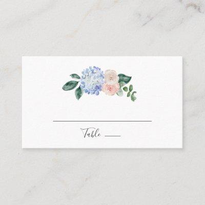 Elegant Blue Hydrangea | White Flat Wedding Place Card
